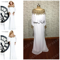 Wholesale Newest Arrival Gold Crystal Beaded Jewel Long Sleeves Fashion Couture Chiffon Real Model Long Evening Dresses Hot Sale Dress OO021