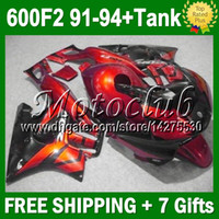 Cheap For HONDA CBR600F2 Red black Not Orange 1992 1993 1991 1994 CBR 600 F2 CBR600 F2 JM#4119924 91-94 CBR 600F2 91 92 93 94 Fairing++7gifts