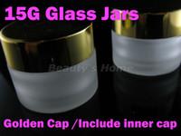 Wholesale 15g Golden cap Glass jars for cosmetic cream refillable bottle Transparent Small Empty Bottle