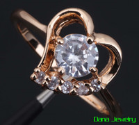 Wholesale Heart ring White Cubic zirconia stone K yellow Gold Plated fashion cz diamond rings R027