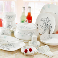 Wholesale Quality ceramic tableware Korean style supplies square dinnerware sets
