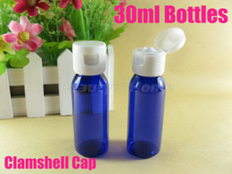 Wholesale 30ml Clamshell blue bottle refillable bottle make up container small empty bottles high quality