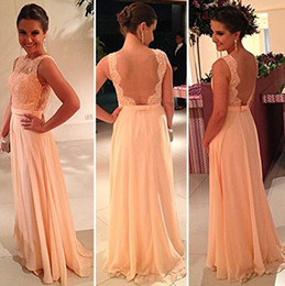 Wholesale Best Selling Beautiful Peach Color New Fashion Lace Floor Length Long Chiffon Nude Back Bridesmaid Dress Backless Prom Dresses OO023
