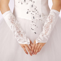 Wholesale Cheap White Ivory satin beaded bridal gloves Fingerless wedding gloves Hote sale below elbow length Bridal accessories