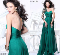 Wholesale New Arrival Sexy A line One Shoulder Dress Sweetheart Neck Satin Chiffon Green Applique Tarik Ediz Evening Dresses Prom Dresses ZA024