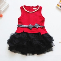 TuTu Summer Ball Gown 2014 new girls dress necklace bow belt dot dress thickening and cashmere yarn dress children's clothing baby kids