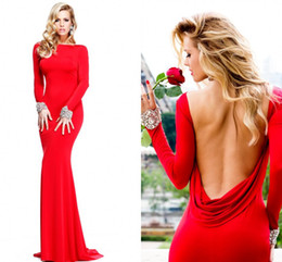 Wholesale 2014 Hot Sale Tarik Ediz Evening Dress New Style Sheath Bateau Neck Red Chiffon Backless Long Sleeves Evening Dresses Prom Dresses ZA026