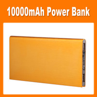 Wholesale 10000mAh Ultrathin Emergency Power Bank for Mobile Phones and Digital Products Fashion Gold USB Ports LED Light