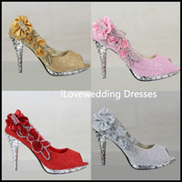 Wholesale 2014 Sparkling Open Toes Wedding Shoes Piscine Mouth Fish Flower Beaded Shallow High Heel Pink Silver Gold Red Bridal Shoe for Dresses YS15