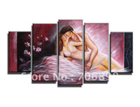 Cheap Framed 5 Panels 100% Handmade Naked Girl Sex Nude Women Kiss Love Oil Painting on Canvas Art Free Shipping--T0146