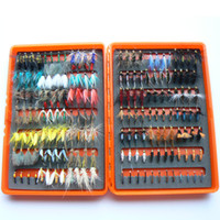 Cheap Free Shipping 14dozen dry and wet fly lures with fly plastic box Trout lures fly fishing bait fake lure fishing tackle soft lure