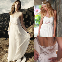 Cheap 2014 Bohemian Beach A-Line Wedding Dresses Boho Bridal Gown With Romantic Sheer Crew Illusion Back Lace Applioques Floor-Length Sku B03