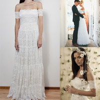 Cheap 2014 Bohemian Beach A-Line Wedding Dresses Boho Bridal Gown With Sheer Off-Shoulder Backless Lace Crystal Beads Sash Floor-Length Sku B05