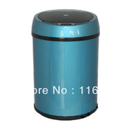 Wholesale 2013 New Stainless Steel Handy Sersor Electronic Touchless Home Trash Bin Dustbin Bucket Liter