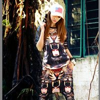 Wholesale 2014 New Fashion Women Clothing Hippie Hip hop Tiger Tusks Round Collar Long Sleeve Top T Shirt