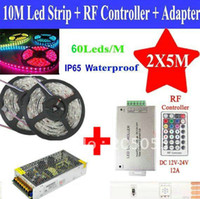 Cheap 2*5M 60Leds M 5050 SMD RGB led Light Strips 10M + 28 Key RF Controller DIY+ Adapter Power supply
