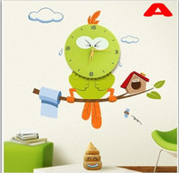 Wholesale Newest Styles Cute D DIY PVC Vinyl Wall Stickers with Wall Clock for Kids Living room Bedroom Decoration
