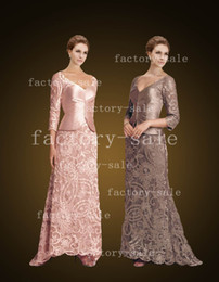 Wholesale 2014 Vintage Mother of the Bride Dresses V Neck Taffeta Lace Long Sleeve Evening Dresses Sheath Floor Length Formal Prom Gowns D79