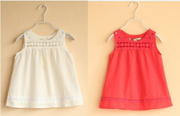 Wholesale Girl Vest Girl Clothes Cotton Sleeveless T shirts Fashion Summer T shirts White Red