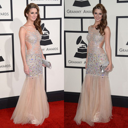 Wholesale The th Grammy Awards Celebrity Dresses Of Brooklyn_Haley With Beads Crystals Backless Mermaid Sexy Evening Gowns Red Carpet Dresses