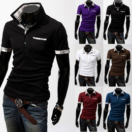 Wholesale Summer New Fashion Multicolor Plaid Casual POLO Shirts Cotton Men s Short Sleeved Shirt POLO Colors Fashion MEN S CLOTHING