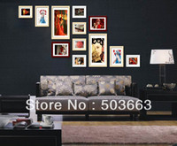 Cheap Popular Picture Frame Wall Mash-up 12 Pcs Wood Creative Combination Photo Frame Art Home Decor Set L-A11