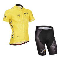Short Anti Bacterial Men 2014 TOUR DE FRANCE YELLOW Short Sleeve Cycling Jersey Bike Bicycle Wear + Shorts Size XS-4XL T13
