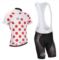Short Anti Bacterial Men 2014 TOUR DE FRANCE RED SPOT Short Sleeve Cycling Jersey Bike Bicycle Wear + BIB Shorts Size XS-4XL T14
