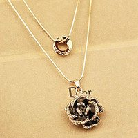 Wholesale Korean long sweater chain necklace double gold ladies diamond fashion Korean Long sweater chain necklace