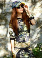 Wholesale 2014 New Fashion Women Clothing Hippie Hip hop Clown Head Portrait Round Collar Long Sleeve Top T Shirt