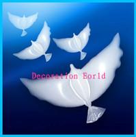 Il trasporto libero 50pcs / lot di alta qualità 100% biodegradabile forma piccione bianco Colomba palloncini palloncino di elio per la decorazione di nozze