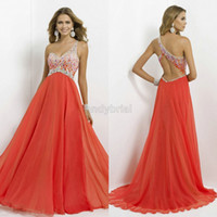 2014 Crystal Beaded One- Shoulder Prom Dresses Long Chiffon F...