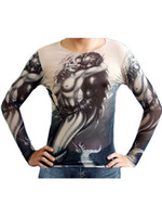 Cheap Cool Naked Woman Print Long Sleeve Men's Tattoo T-Shirt superman t shirt r89 #u12-Gb4