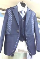 garçons Costumes de mariage formel costume Parti Tuxedo Groom Veste + Pantalon + noeud papillon / cravate + gilet + chemise robe GILET Suit 5 pcs set # 3476