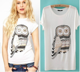 EAST KNITTING free shipping K-026 New arrival womens summer t shirts 2014 womans brand clothes white owl tees tops