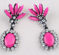Wholesale 2014 New Sexy Fluorescence Color Gem Stone Rhinestone Short Design Earrings Ear Stud Charm Gift Fashion Women Jewelry pairs SE005