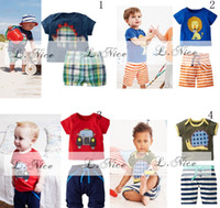 Boy Summer Short baby 2pcs summer outfits clothing set cartoon beach clothing set embroidered boy short sleeve tees t-shirt+stripe plaid checkered shorts
