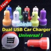 USB   Wholesale - Colorful Dual USB 2 Port Car Charger Cigarette 2.1A Auto Power Adapter for iphone 4 5 ipad Samsung