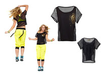 Wholesale woman Dance clothes Flash Crop Top tshirt sleeve tshirt
