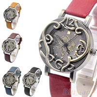 Wholesale Min Hot Sale New Vintage Retro Women Bronze Rose Flower Cirrus Stylish Quartz Analog Watch for Men Clock