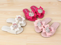 Wholesale Fashion summer Princess Girl Cartoon Cats Rhinestones Sandals Children Girls Chiffon Bow Cat Slipper Soft Shoe