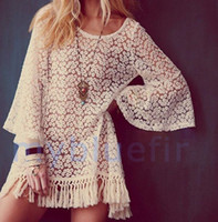 Wholesale Hot Vintage Hippie Boho Bell Sleves Gypsy Festival Fringe Lace Mini Dress Tops V