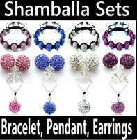 Cheap Bracelet,Earrings & Necklace Shamballa Bracelets Set Best Gift Crystal, Rhinestone Shamballa Jewelry Set