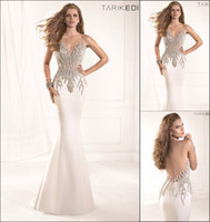 Cheap Sexy 2014 Tarik Ediz Prom Dresses High Neck Sleeveless Pearl Beaded Satin Mermaid Evening Pageant Dress Custom