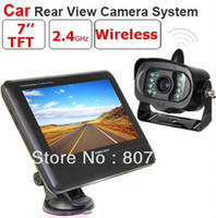 """Cheap 2.4G Wireless License Back Up Reverse Car Rear View Camera 7"""" LCD Monitor Kit Weather-proof Camera"""