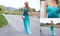 Wholesale 2014 New Arrival Long Blue Sheath Column Sweetheart Custom Made Chiffon Floor Length Sleeveless High Quality Prom Dresses
