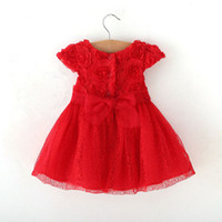 TuTu Summer Ball Gown New Baby Girl Dress Kids Party Dresses Sleeveless Lace Rose Birthday Dresses With Hot Red Hem 2014 Children Fashion Christmas Dress