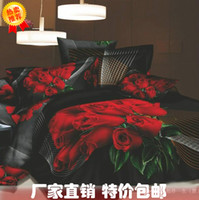 Wholesale Large oil painting flower cotton four piece set fitted bed sheets d net accompanied by a lifetime of