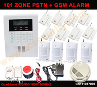 Cheap Free shipping GSM and PSTN dual network home fire alarm system 101 zone LCD dispaly with 8 door sensor 4 PIR 1 smoke alarm