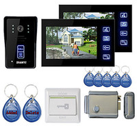 """Cheap New 7"""" Color Hands Free Video Door phone with 2 Monitors(RFID keyfobs,Electronic Controlling Lock)"""